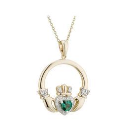 Solvar 14K Dia & Created Emerald Claddagh Pendant