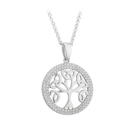 Solvar  S/S Cubic Zarconia Tree Of Life Pendant