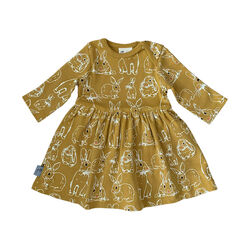 Fauna Kids Dress With Allover Rabbit Print Organic 0-3 Months
