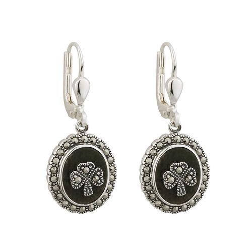 Solvar  S/S Marcasite Shamrock Marble Earrings