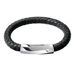 Calvin Klein Black Bewilder Leather Bracelet Ladies Klein