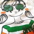 Irish Memories Irish Memories Girls White Shamrock Glasses T-Shirt  9/10