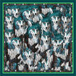 Debbie Millington Wolves Green Silk Scarf  136cm