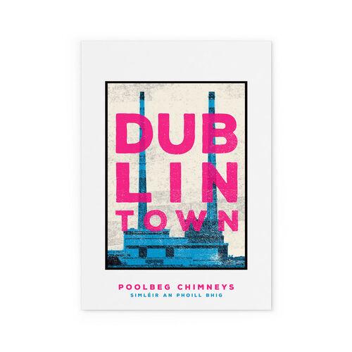 Jando  Dublin Rown Poolbeg Chimneys Large Print A3
