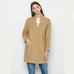Avoca Mohair Wool Blend Boyfriend Coat in Camel