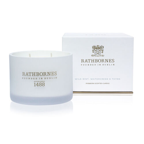 Rathborne  Wild Mint, Watercress and Thyme Scented Classic Candle Two wick Burn time up to 40 hours
