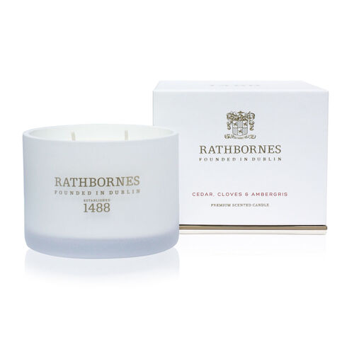 Rathborne  Cedar, Cloves and Ambergris Scented Classic Candle Two wick Burn time up to 40 hours