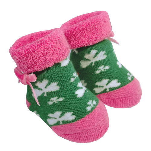 Traditional Craft Kids Green Pink Shamrock Baby Booties