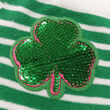 Traditional Craft Kids Green/White Stripe Sequin Shamrock Kids Socks   0/3