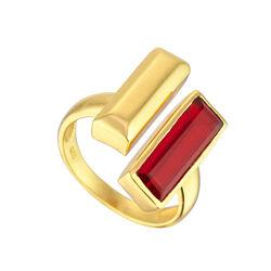 Juvi Designs Manhattan Bar Ring Gold Vermeil Garnet