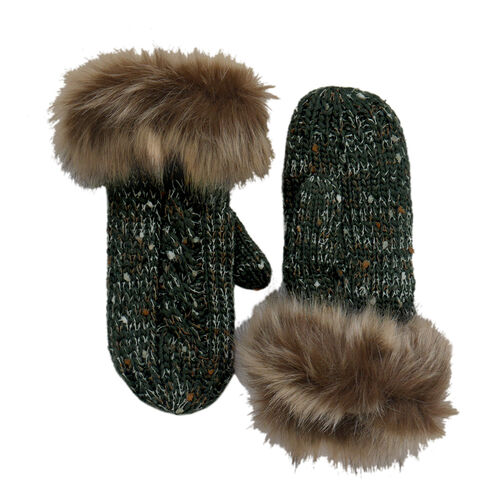 Patrick Francis Bottle Green Speckled Wool Mitten With Fur