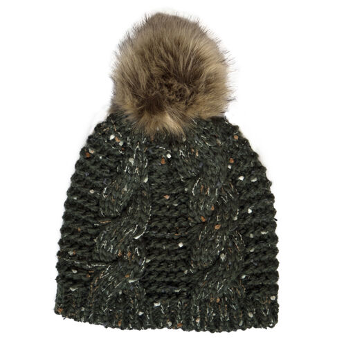 Patrick Francis Bottle Green Speckled Wool Hat With Fur Bobble