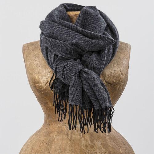 Avoca Cashmere Wool Blend Sandymount Scarf in Grey & Black
