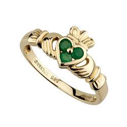 Solvar  14K & 3 Em Heart Claddagh Ring/05