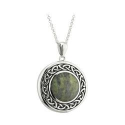 Solvar  S/S Round Marble Celtic Pendant