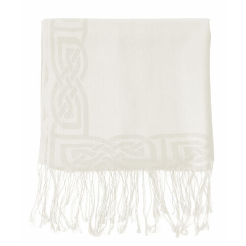 Patrick Francis White Wool Blend Pashmina with Celtic Design