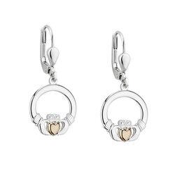 Solvar  S/S & 10K Gold Heart Claddagh Drop Earrings