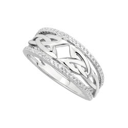Solvar  S/S CZ Trinity Knot Band Ring