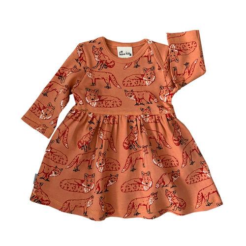 Fauna Kids Dress With Allover Fox Print Organic 0-3 Months
