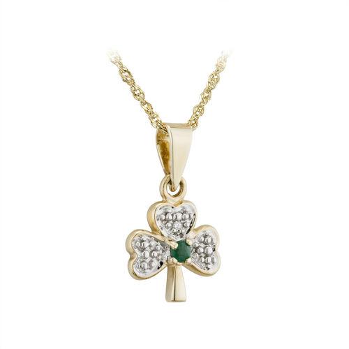 Solvar  14K Dia & Emerald Shamrock Pendant