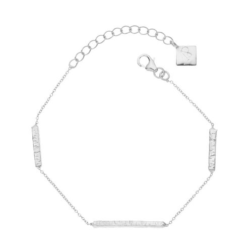 Juvi Designs Hammered Bar Sterling Silver Bracelet  One Size