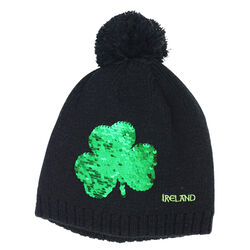 Traditional Craft Kids Black Kids Knit Bobble Hat  with Two Way Shamrock Sequence
