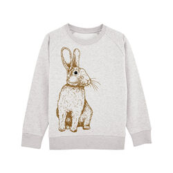 Fauna Kids Organic Sweatshirt Handprinted Rabbit 3-4 Years