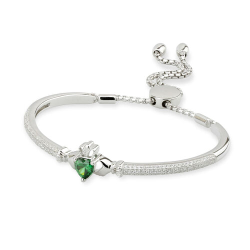 Solvar  S/S CZ Claddagh Draw String Bangle