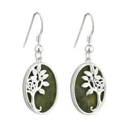 Solvar  S/S Marble Tree Of Life Drop Earrings