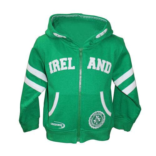 Lansdowne Kids Emerald Green Zip Baby Hoodie With Ireland Embroidery