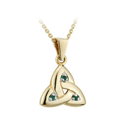 Solvar 14K Emerald Trinity Knot Medium