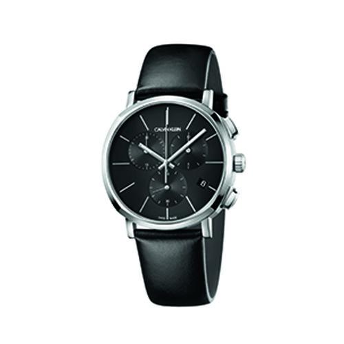 Calvin Klein K8Q371C1 Posh Leather Strap Watch Mens Silver Chronograph