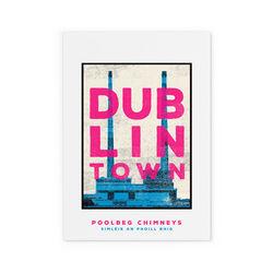 Jando  Dublin Rown Poolbeg Chimneys Small Print A4