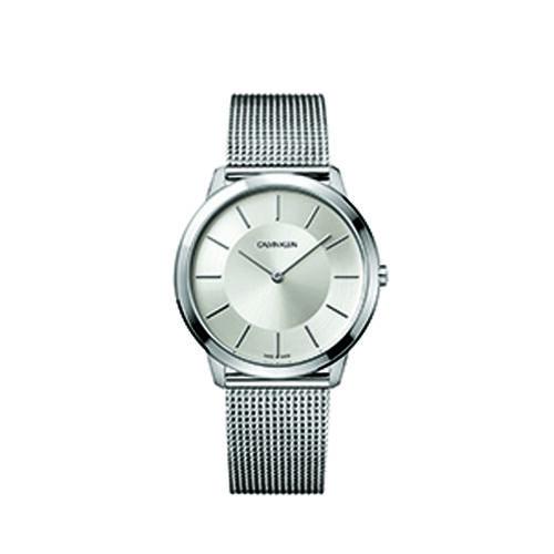 Calvin Klein K3M21126 Minimal Mesh Strap Watch Mens Silver