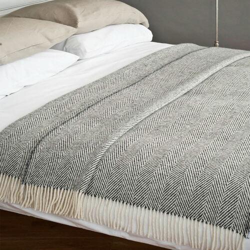 Avoca Heavy Herringbone Throw in Grey Woven in the Avoca Mill in Ireland