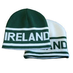 Lansdowne Adults Green White Reversible Knit Hat