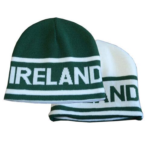 Lansdowne Adults Green White Reversible Knit Hat