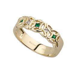 Solvar  14K Dia & Emerald Trinity Knot Ring