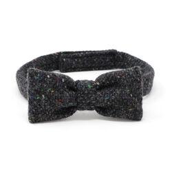 Hanna Hats Bow Tie Tweed Dark Grey Charcoal Fleck Salt & Pepper