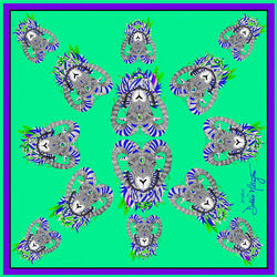 Debbie Millington Jester Ram Green Silk Scarf  45cm
