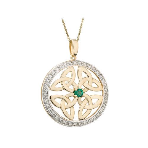 Solvar 14K Emerald Round Four Trinity Pendant