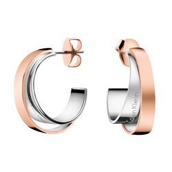 Calvin Klein Silver and Rose Gold Earring Ladies Klein