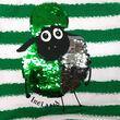 Traditional Craft Kids White/Emerald Green Stripe 2 Way Sequin Sheep Kids Dress   1/2