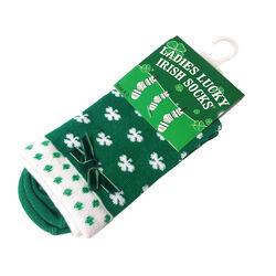 Silly Socks Green White Shamrock Ladies Ankle Sock  One Size
