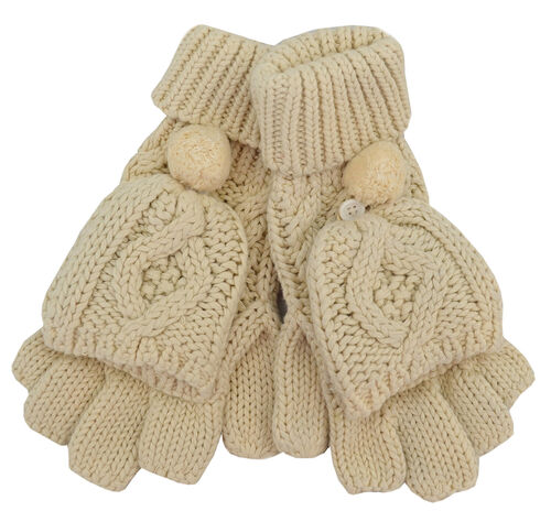 Patrick Francis Cream Aran Knitted Pom-Pom Mitten