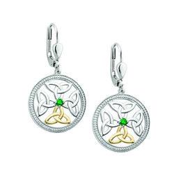 Solvar  Silver 10K Gold Emerald Celtic Knot Earrings