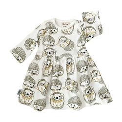 Fauna Kids Dress With Allover Hedgehog Print Organic 0-3 Months
