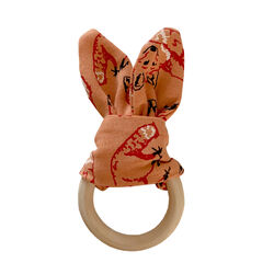 Fauna Kids Teether With Fox Print & Wooden Ring One Size