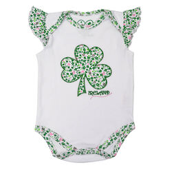 Traditional Craft Kids White Baby Vest With Shamrock Applique
