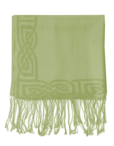 Patrick Francis Moss Green Wool Blend Pashmina with Celtic Design